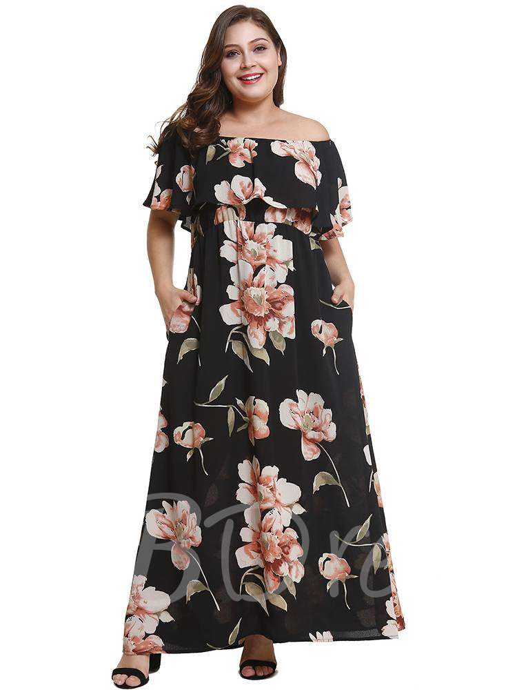 Buy Plus Size Slash Neck Floral Prints Maxi Dress, Plusee, 13357558 for $19.81 in TBDress store