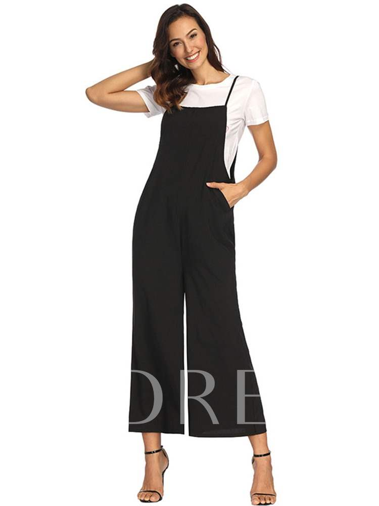 Casual Loose Fit Spaghetti Strap Sexy Women's Jumpsuit, Summer, 13354910