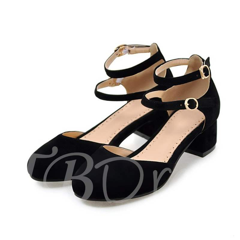 Buy Round Toe Chunky Heel Buckle Ladylike Women's Pumps, Spring,Summer,Fall, 13361516 for $39.72 in TBDress store