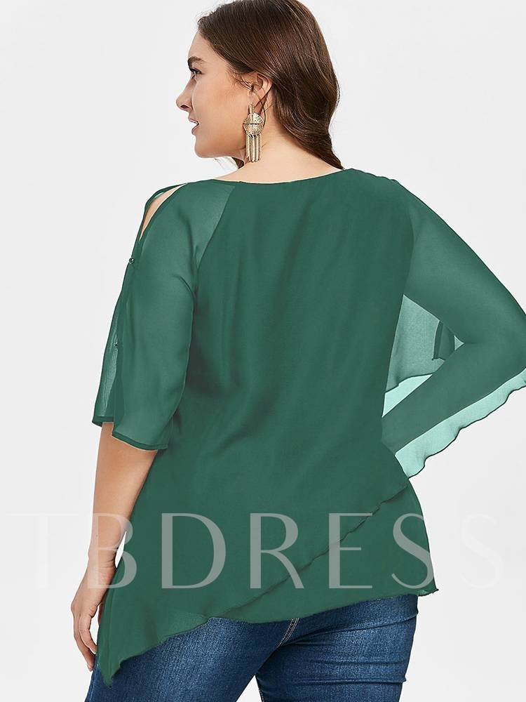 Plus Size Asymmetric Chiffon Flare Sleeve Women's Blouse