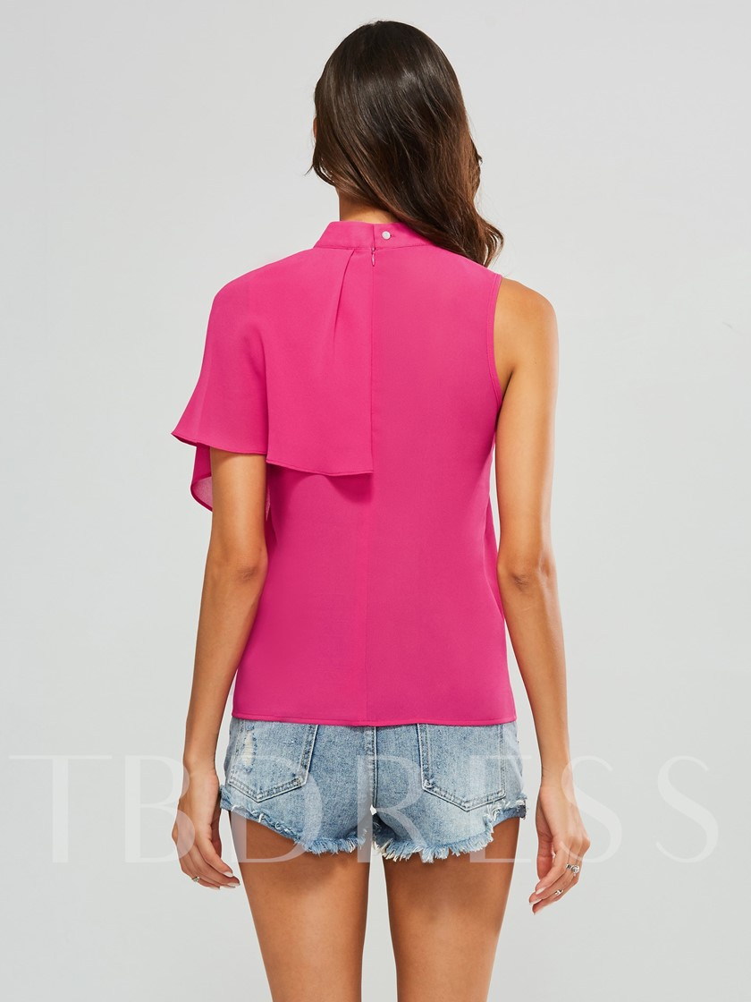 Asymmetric Sleeveless Zipper Solid Color Chiffon Women's Blouse