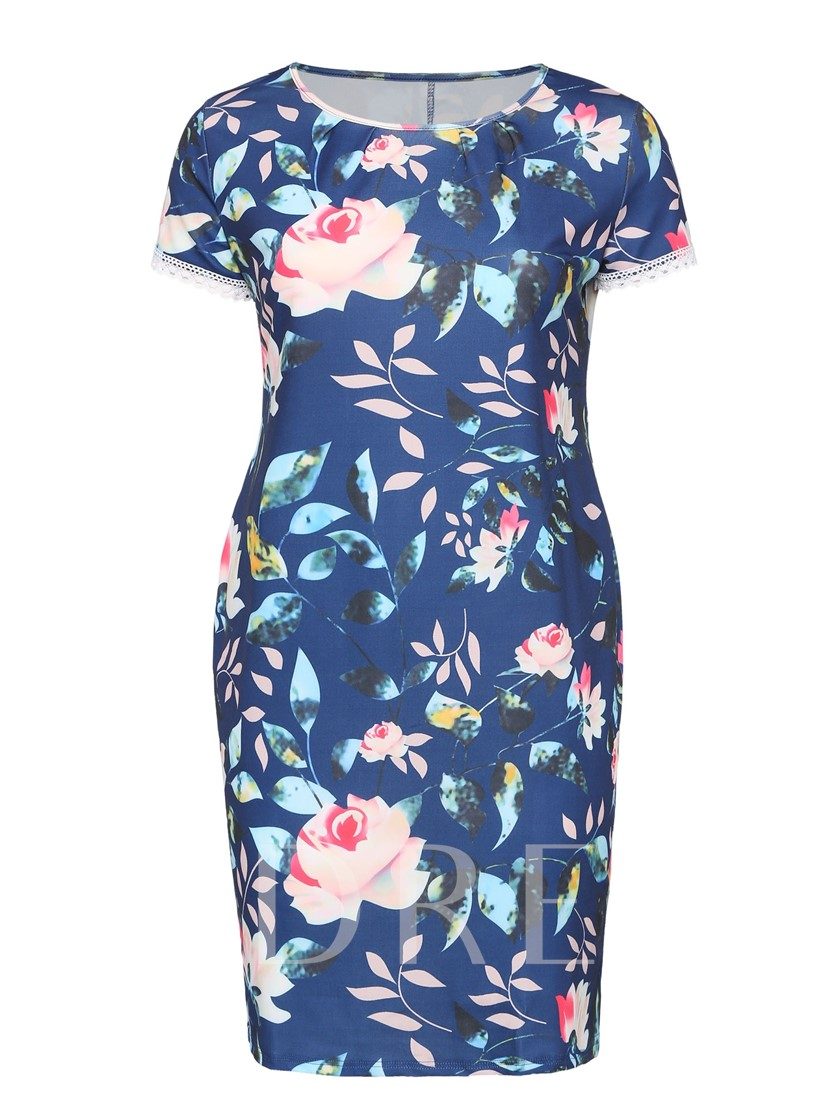 Plus Size Printing Bodycon Floral Dress