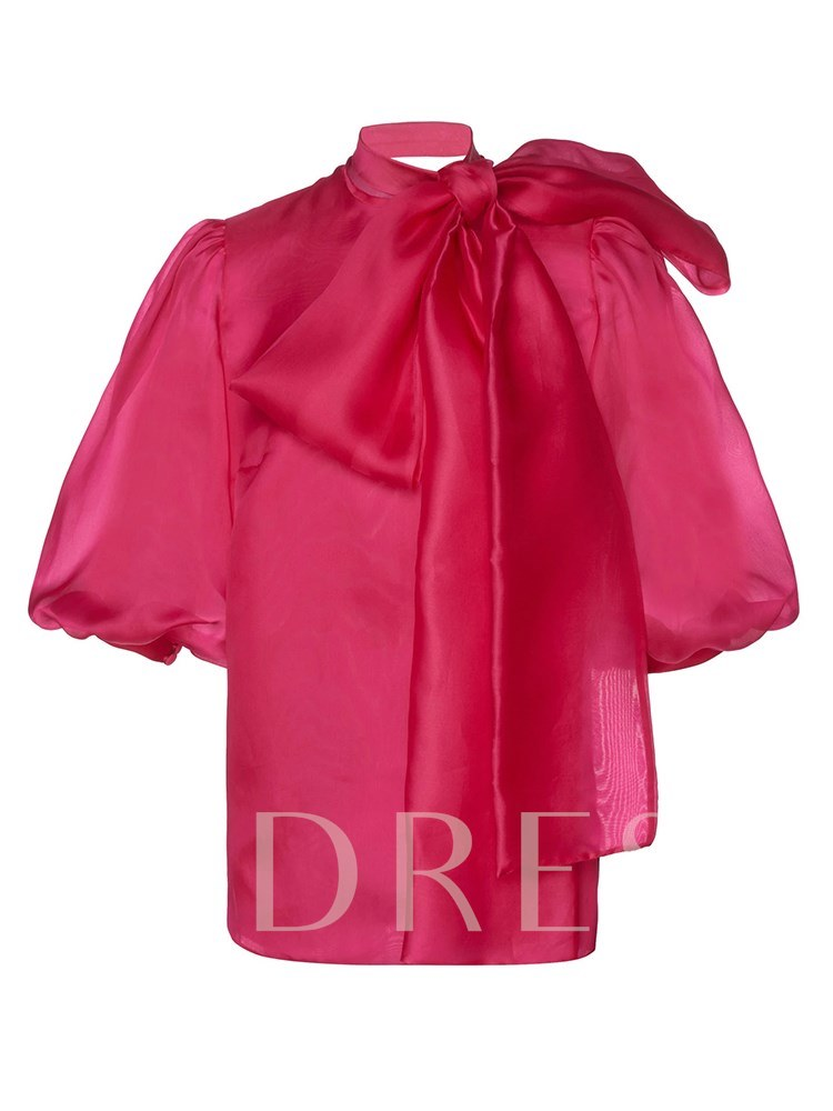 Plus Size Bow Tie Neck Lantern Sleeve Women's Blouse