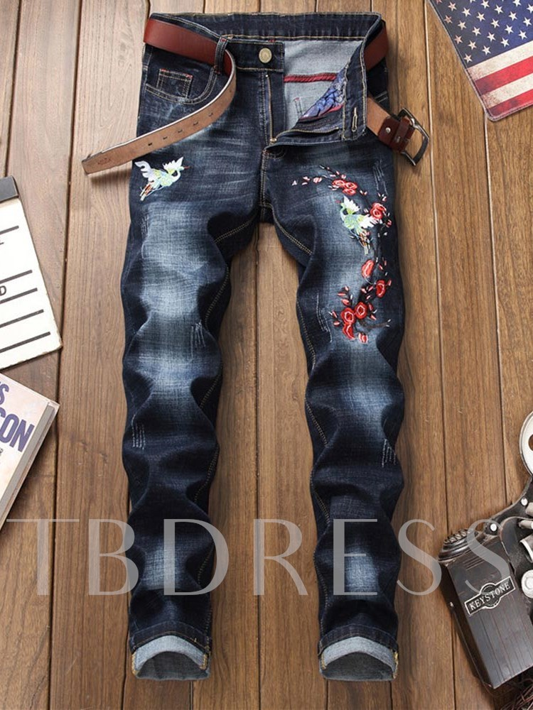 Embroidery Straight Slim Men's Leisure Jeans