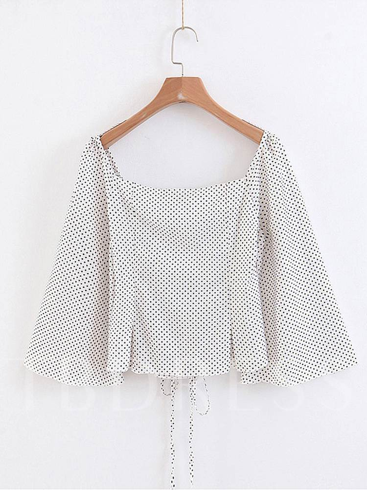 Lace Up Polka Dot Square Neck Bell Sleeve Women's Blouse