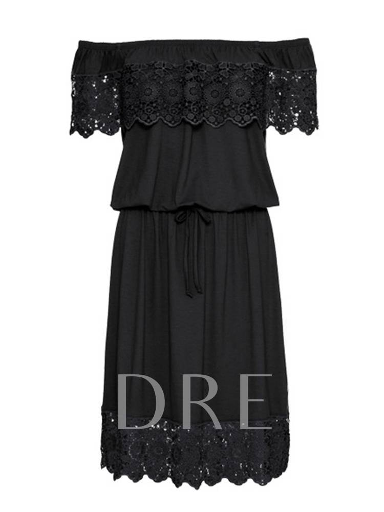 Off Shoulder Lace Patchwork Women's Day Dress