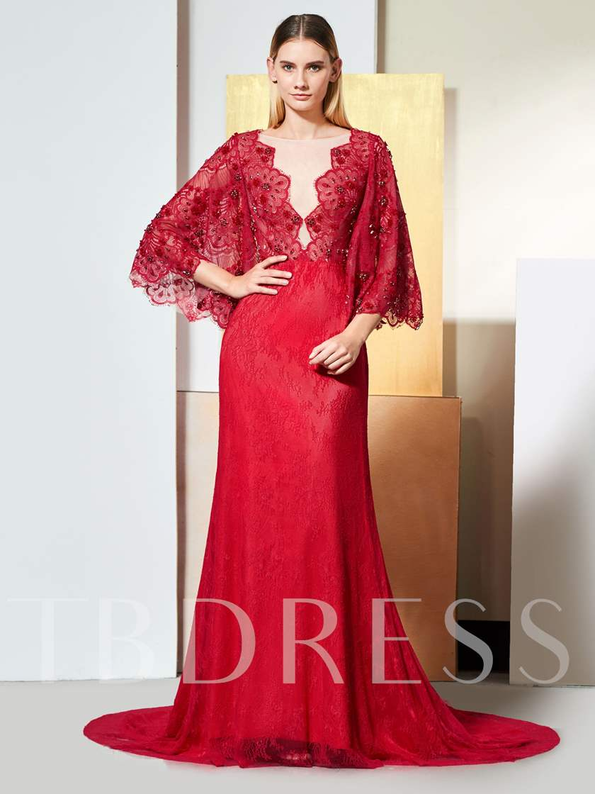 A-Line Button Bateau Lace Evening Dress