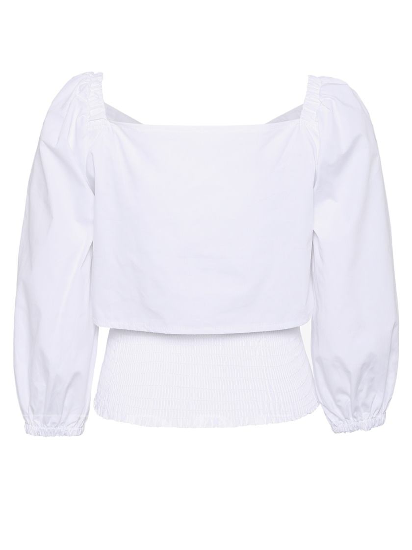 Hole Stretchy Waist Bowknot Women's Blouse
