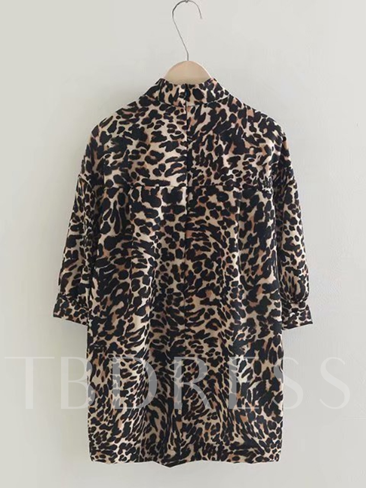 Mid Length Leopard Half Sleeves Tee Women's Tunic