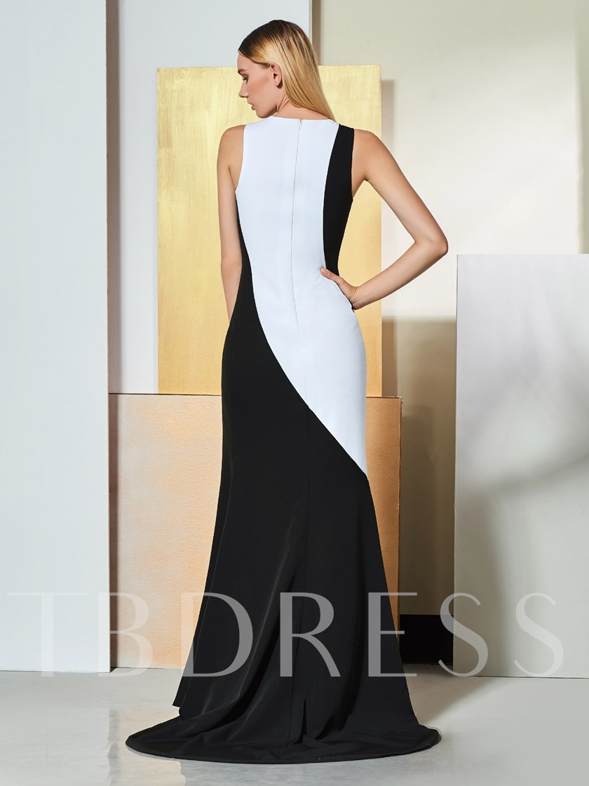 Sheath Jewel Split-Front Multi Color Evening Dress