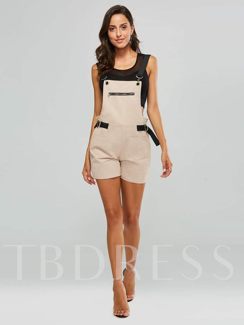 Zipper Double Pocket Short Suspender Women's Overalls