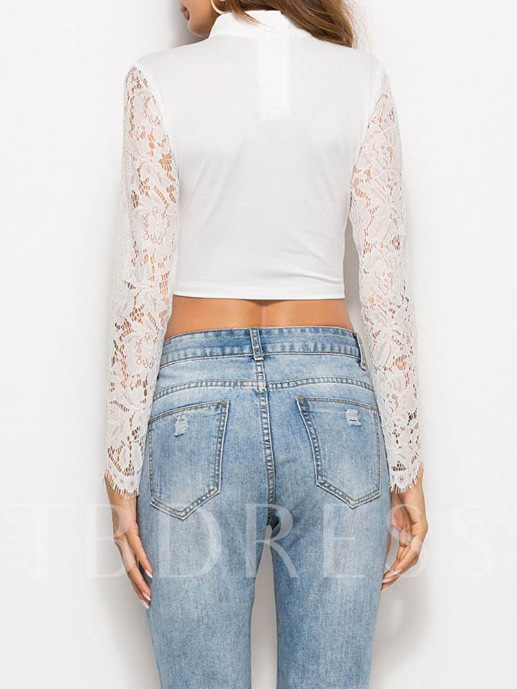 Sexy Lace Long Sleeve Stand Collar Women's Blouse