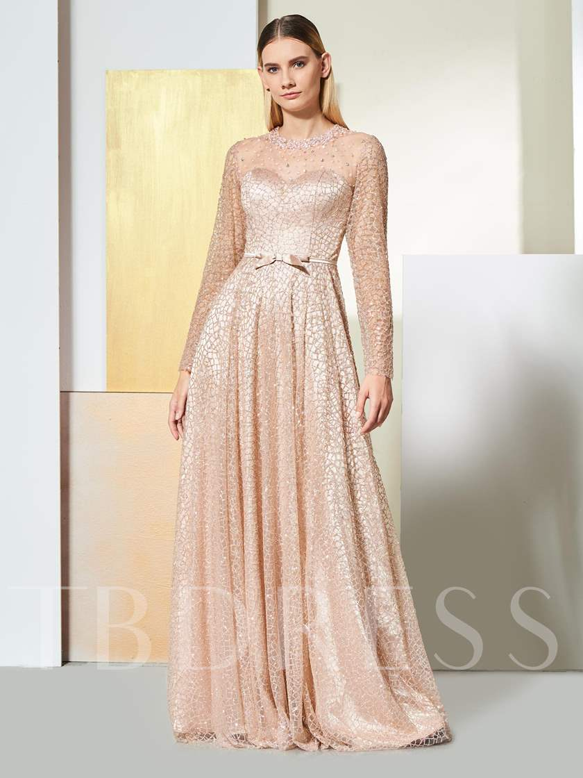 A-Line Long Sleeves Button Sequins Evening Dress