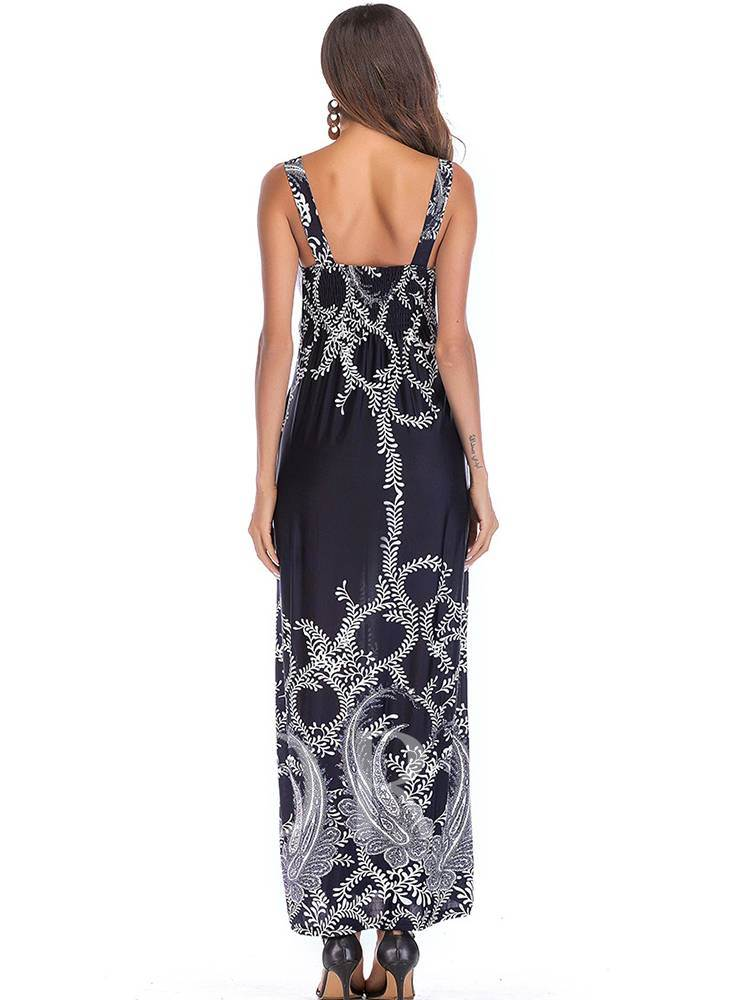 V-Neck Sleeveless Printing Maxi Dress