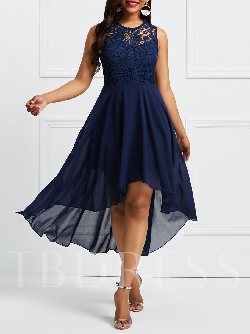 Dark Blue Sleeveless Back Lace Day Dress