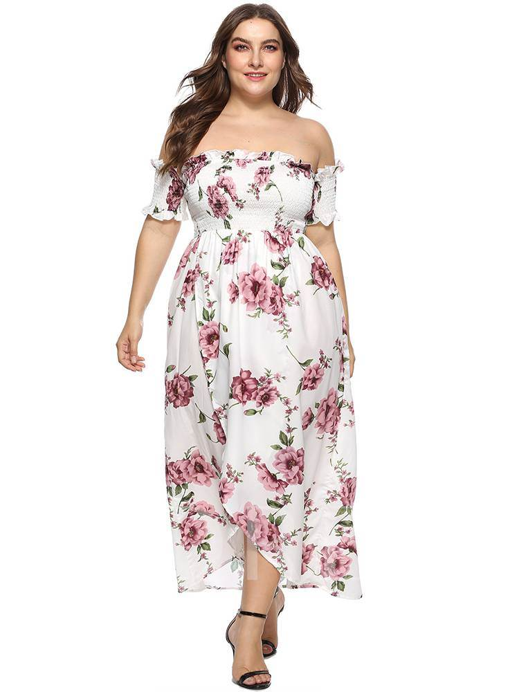 Plus Size Off Shoulder Prints Maxi Dress - Tbdress.com