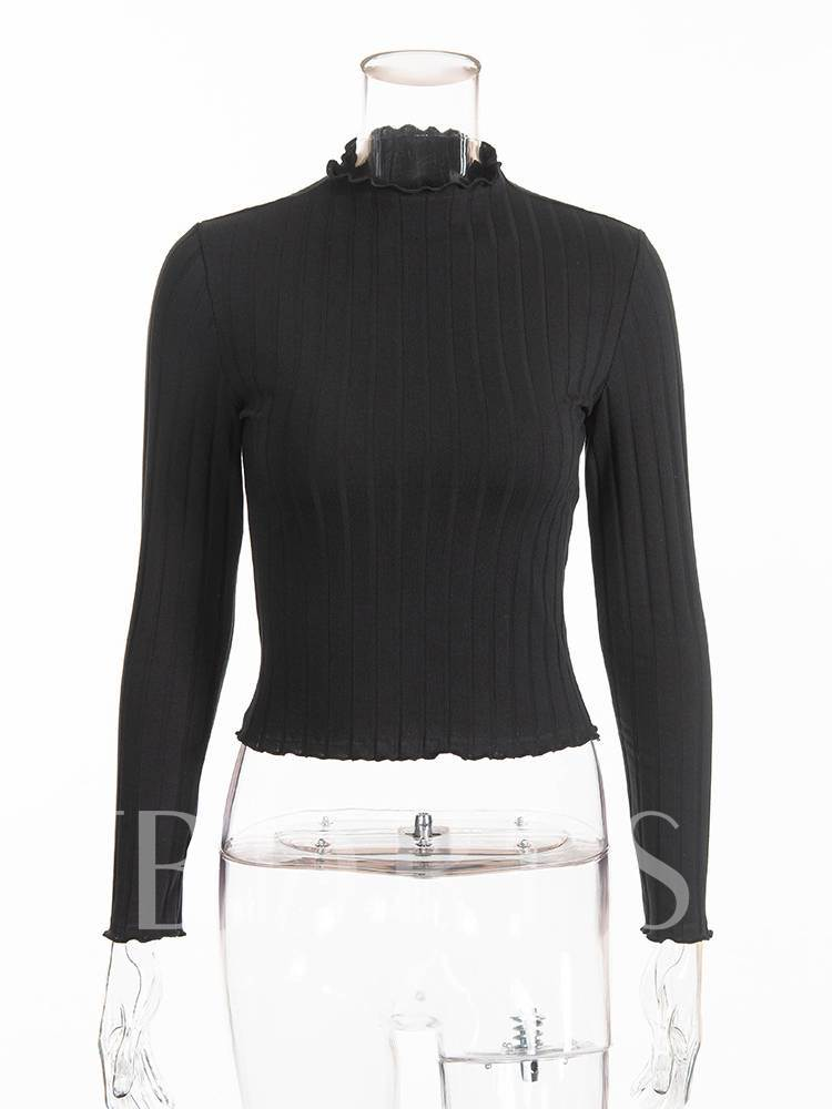 Slim Fit Long Sleeve Stand Collar Women's Sweater