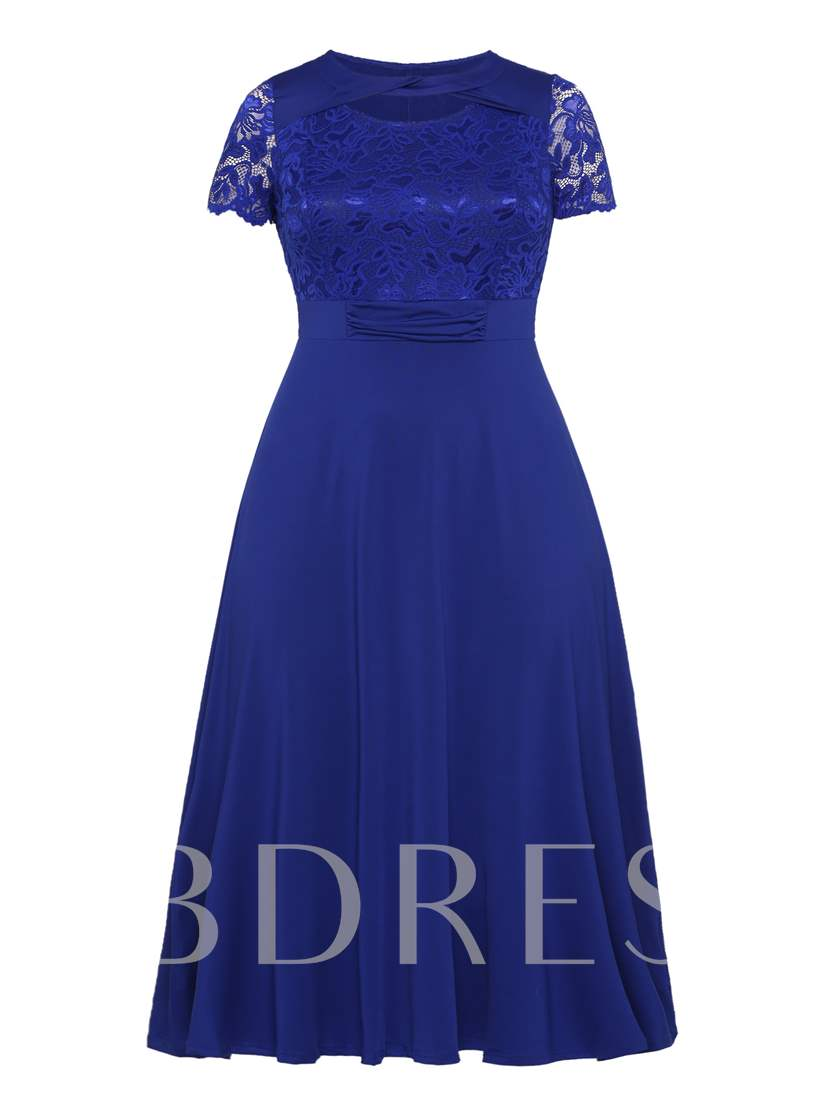 Plus Size Short Sleeve Lace A-Line Dress