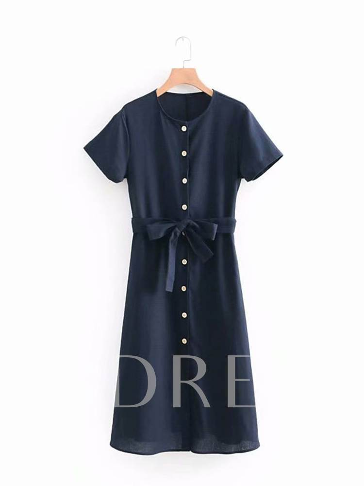 Round Neck Belt Waist Women's Day Dress