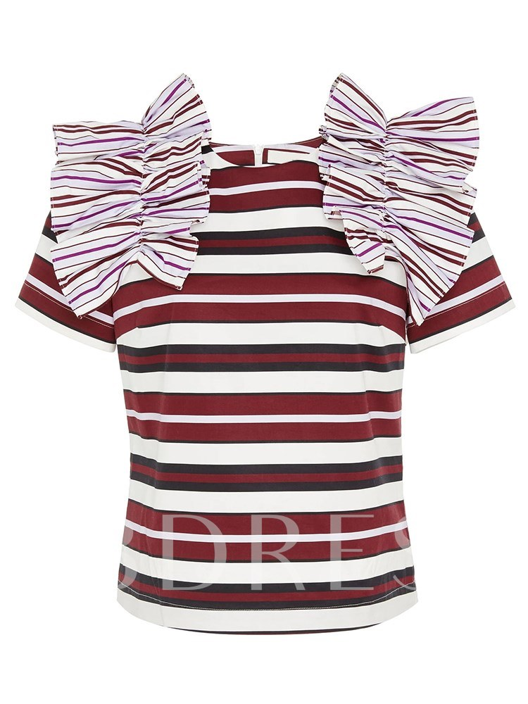 Plus Size Ruched Stripe Women's T-Shirt