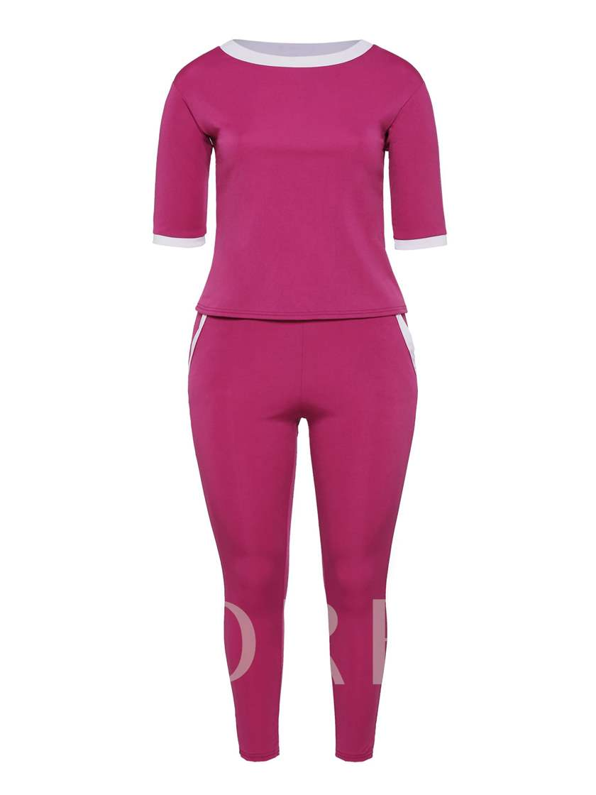 Sporty Plain Round Neck Top and Pants Women's Plus Size Two Piece Set