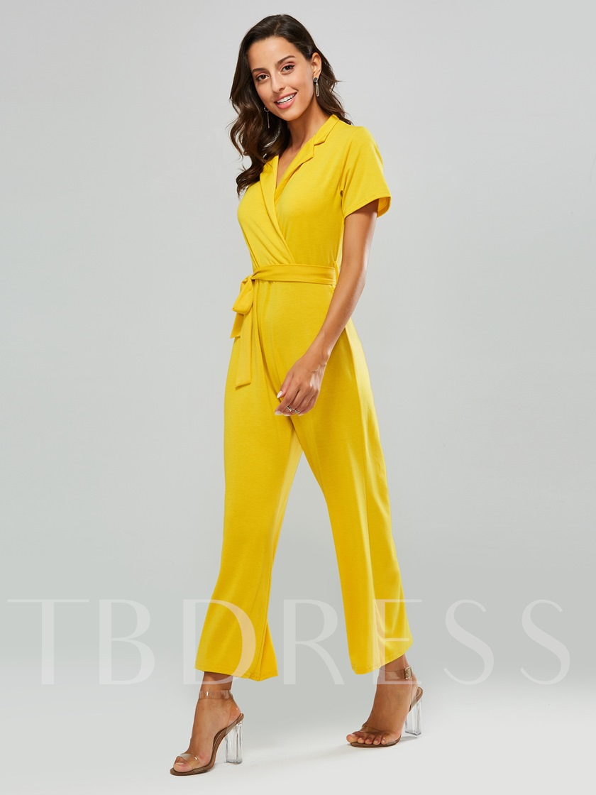 Plain Tie Waist Lapel Short Sleeve Women's Jumpsuit