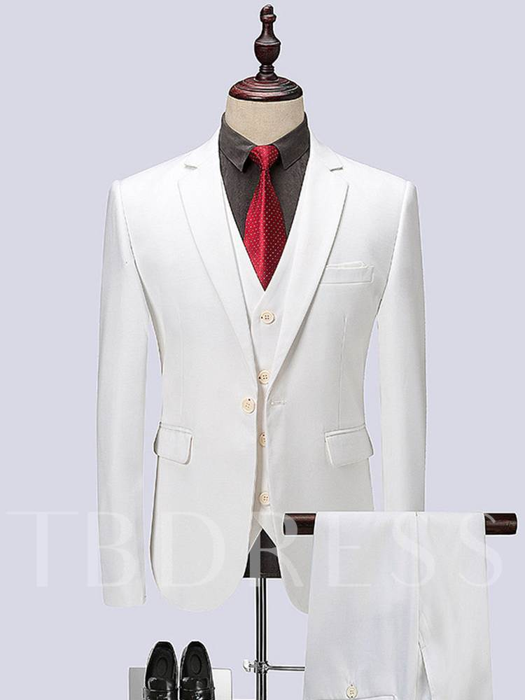 Three Piece White Luxury Slim Men's Dress Suit