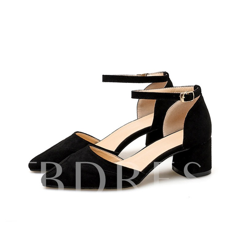 Buy Line-Style Buckle Chunky Heel Pointed Toe Suede Women's Sandals, Spring,Summer,Fall, 13340777 for $33.18 in TBDress store
