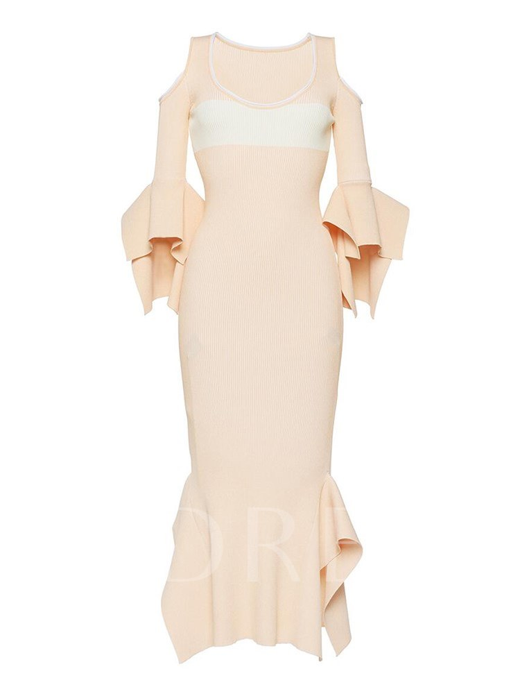 Buy Plus Size Apricot Flare Sleeve Elegant Bodycon Dress, Plusee, 13344300 for $22.06 in TBDress store