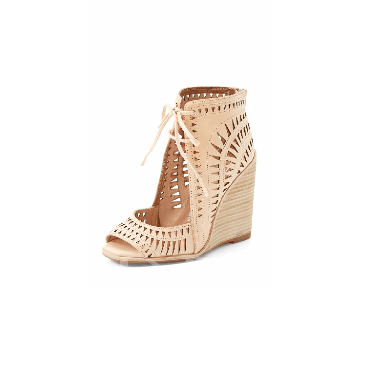 Buy Lace-Up Peep Toe Wedge Heel Hollow Exquisite Women's Sandals, Spring,Summer, 13343938 for $92.86 in TBDress store
