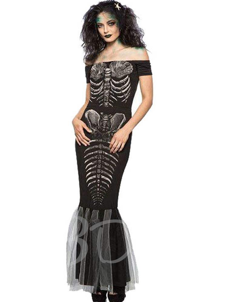 Slash Neck Skull Scary Halloween Costume Fishtail Short Dress