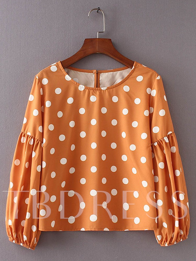 Buy Puff Sleeve Polka Dot One Button Women's Blouse, Spring,Fall, 13343360 for $12.50 in TBDress store