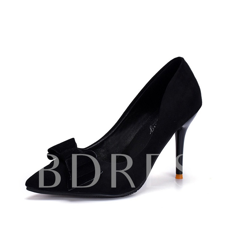 Buy Suede Stiletto Heel Pointed Toe Bowknot Elegant Women's Pumps, Spring,Summer,Fall, 13339657 for $30.82 in TBDress store
