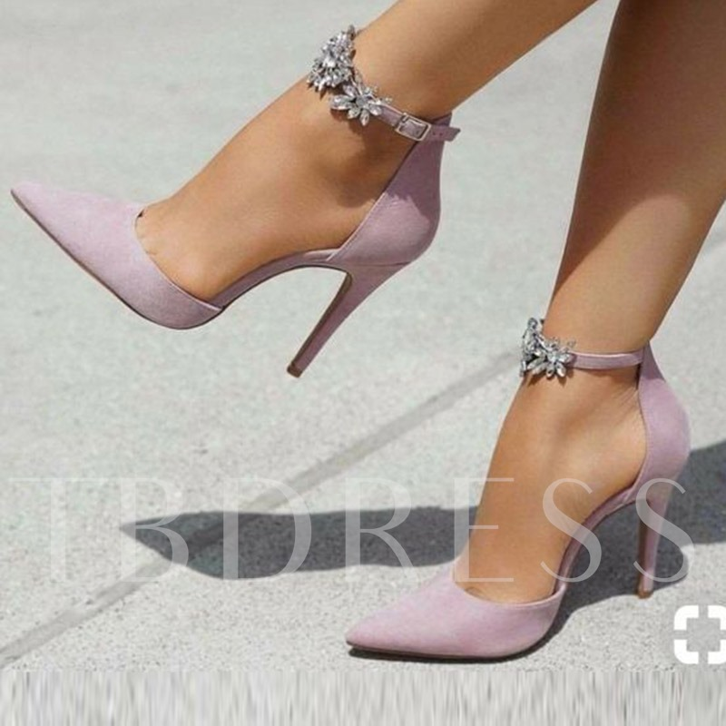 Buy Pointed Toe Line-Style Buckle Rhinestone Stiletto Heel Women's Pumps, Spring,Summer,Fall, 13343194 for $57.47 in TBDress store