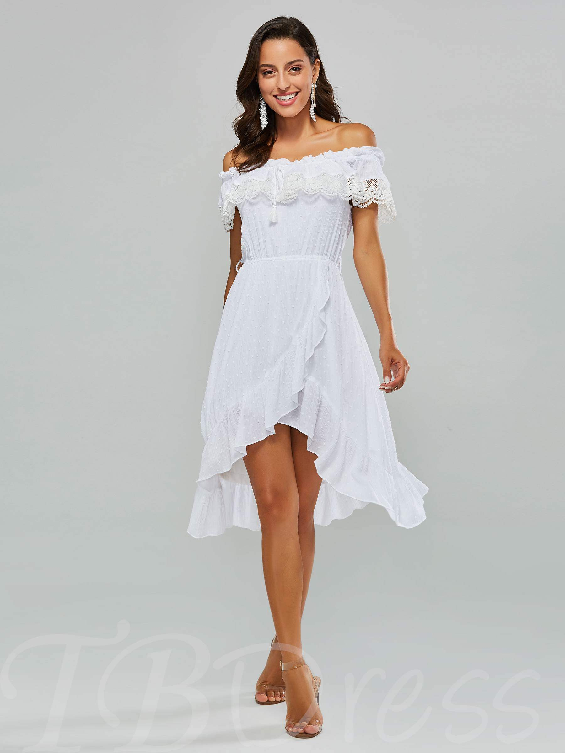Buy White Short Sleeve Ruffle Lace Women's Day Dress, Spring,Summer,Fall, 13341972 for $17.65 in TBDress store