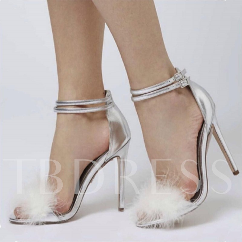 Buy Plain Line-Style Buckle Heel Covering Feather Unique Heel Sandals, Spring,Summer, 13343162 for $55.97 in TBDress store