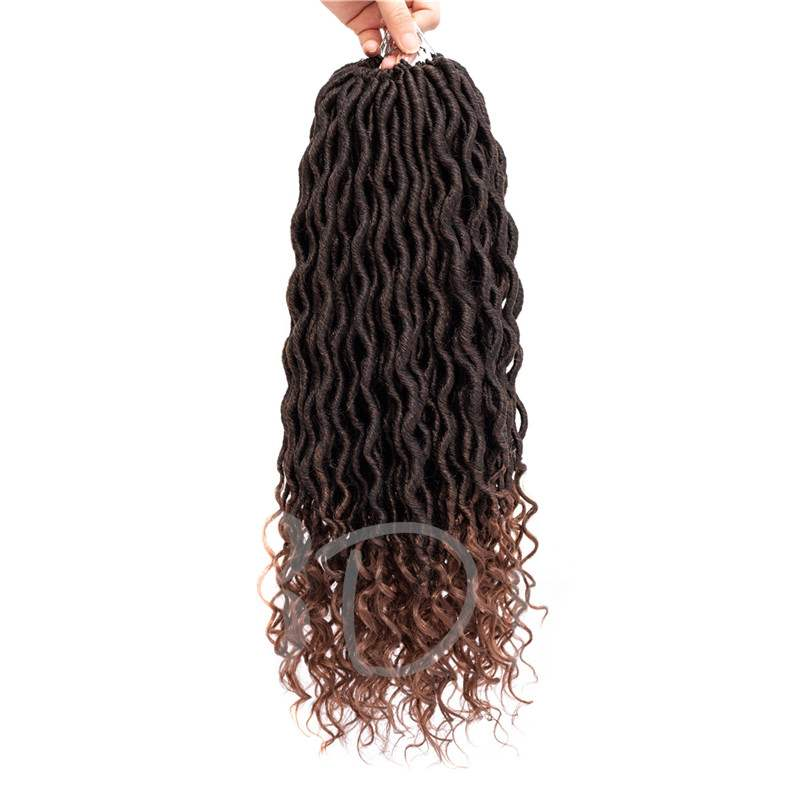 Twist Braids Goddess Locs With Curly Ends Crochet Synthetic Braiding Hair Extension 6pcs