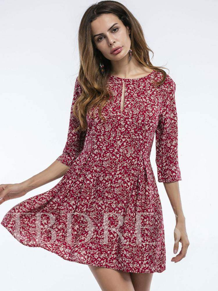 Buy Hole Neck 3/4Length Sleeve Floral Day Dress, Summer,Fall, 13343629 for $11.40 in TBDress store