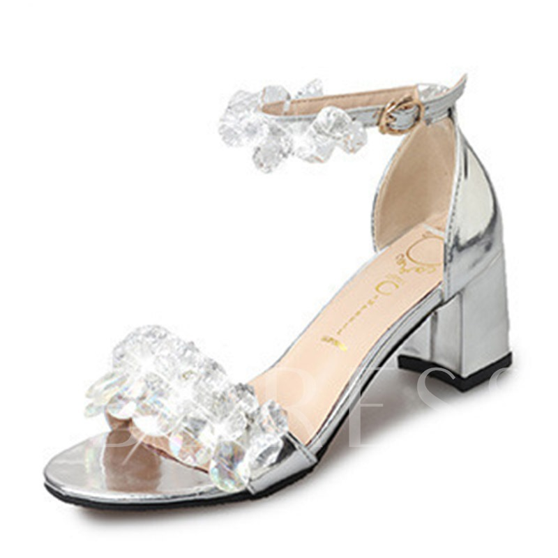 Buy Line-Style Buckle Rhinestone Open Toe Sparkly Women's Sandals, Spring,Summer, 13343977 for $21.65 in TBDress store