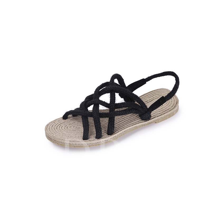 Buy Woven Cowhells Strappy Summer Slip-On Women's Sandals, Spring,Summer, 13345278 for $26.20 in TBDress store