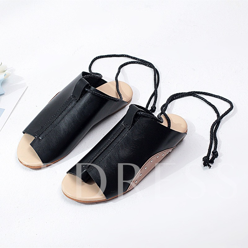 Buy Toe Ring Lace-Up Strappy Plain Flat Sandals for Women, Spring,Summer, 13344829 for $17.59 in TBDress store