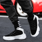 Mesh Lace-Up Round Toe Thread Comfy Men's Sneakers