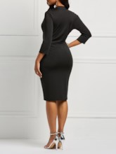 V-Neck Three-Quarter Sleeve Pleated Pencil Women's Bodycon Dress