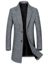 Slim Lapel Mid-Length Plain Men's Woolen Coat