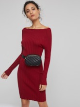 Red Bodycon Long Sleeves Women's Sweater Dress