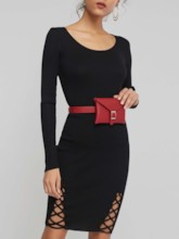 Bodycon Lace Up Long Sleeves Women's Sweater Dress