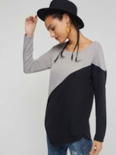Color Block Long Sleeve Mid-Length Women's T-shirt
