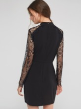 Patchwork Stand Collar Bodycon Women's Lace Dress
