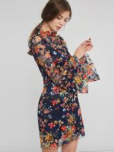 Long Sleeve Floral Stand Collar Women's Lace Dress