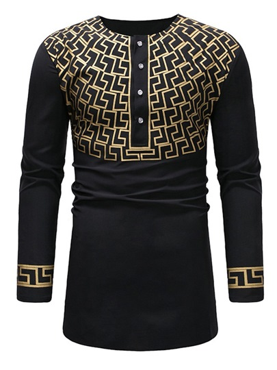 African Fashion Dashiki Printed Scoop Neckline Mens T-Shirt African Fashion Dashiki Printed Scoop Neckline Men's T-Shirt